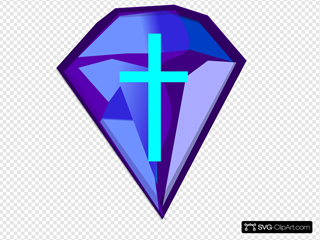 Blue Purple Diamond With Cross