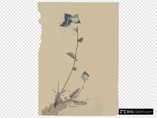 [blue Flower Blossom And Bud At The End Of A Stalk] SVG Clipart