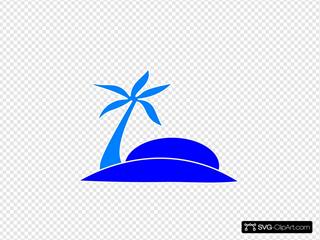 Blue Palm Tree Beach W/sun