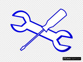 Spanner Screwdriver Blue Outline