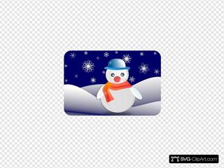 Snowman In Winter Scenery
