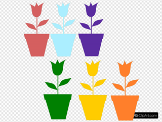 Tulips In Pot Silhouettes