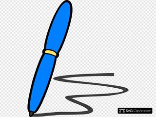 Blue Pen Write SVG Clipart