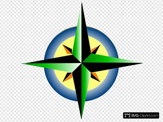 Compass Refreshing Green Blue With Yellow