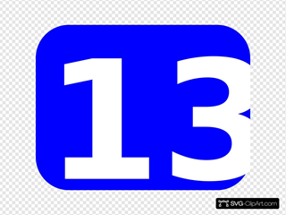 Blue Rounded Rectangle With Number 13