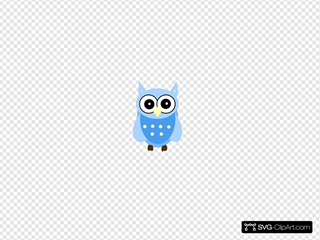 Very Blue Owl Clipart