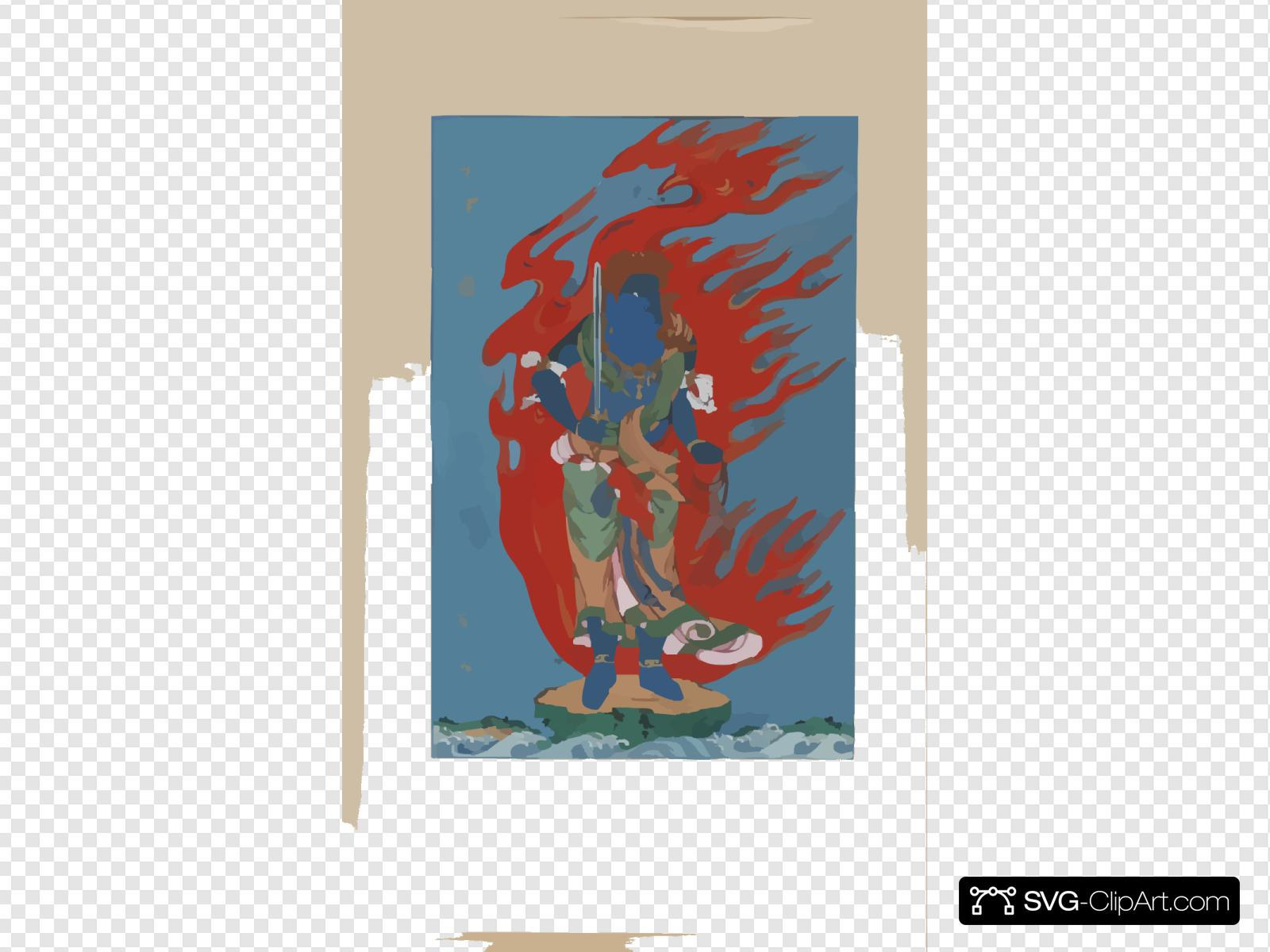 [mythological Blue Buddhist Or Hindu Figure, Full-length, Standing On Small Island Among Waves, Facing Right, Against Backdrop Of Flames With Phoenix Head]