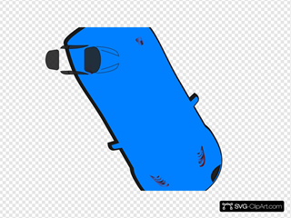 Blue Car - Top View - 300