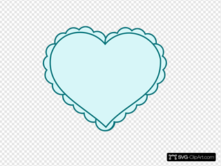 Teal Heart With Lace Outline