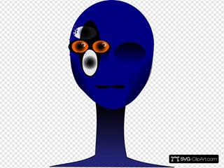 Blue Alien Face
