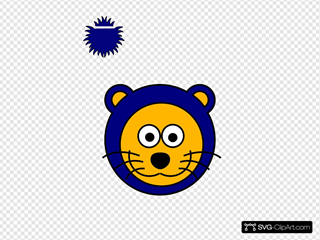 Cartoon Blue Gold Lion