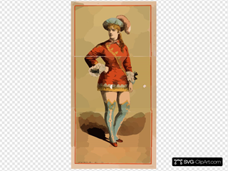 [chorus Girl In Short Red Costume And Blue Stockings]