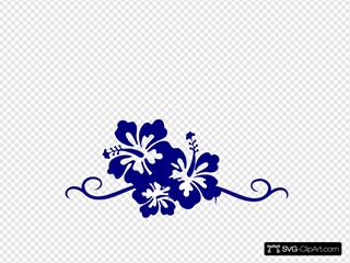 Hibiscus Swirl Border Three Blue Flowers
