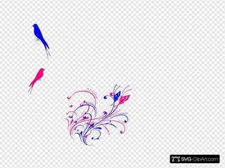 Butterfly Scroll Blue Pink