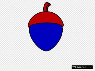 Blue Acorn With Red Cap