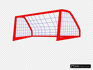Red Post And Blue Soccer Goal Net