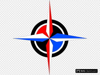 Blue & Red Compass Rose