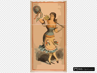 [dancing Chorus Girl With Cane And Blue Hat]