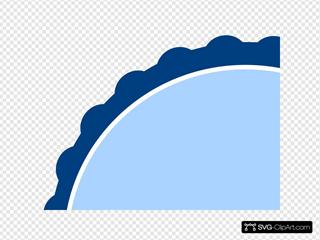 Navy Banded Blue Scalloped Circle