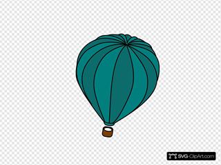 Hot Air Balloon Teal Blue