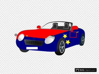 Red Blue Convertible Sports Car