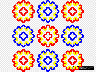 Blue And Red Tile Decoration