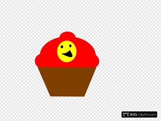 Cupcake Redbrown Smiling Face