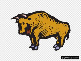 Stylized Brown Bull Art