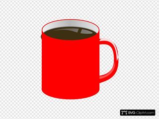 Red Mug, Brown Liquid