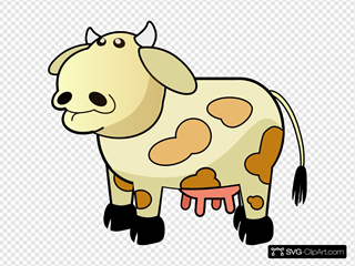 Cream Colored Cow With Brown Spots