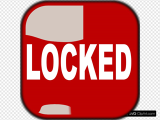 Red Locked Square Button SVG Clipart