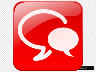 Red Chat Icon Glossy