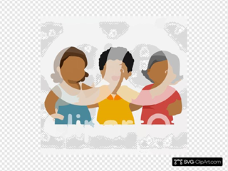 Cartoon Of A Group Of Diverse Middle Aged Female Friends Royalty Free Vector Clipart