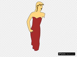 Cartoon Lady Wearing Fashion Dress