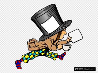 Mad Hatter With Blank Label And Blank Paper