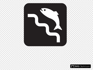 Fish Ladder Black SVG Clipart