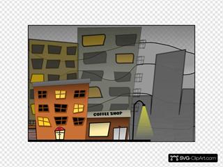 Cartoon City Street Night