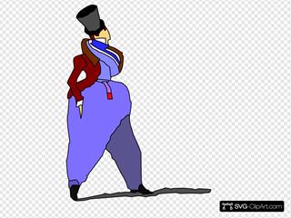 Cartoon Lady Walking In Fashion Dress