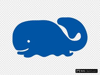 Blue Whale Cartoon Silhouette