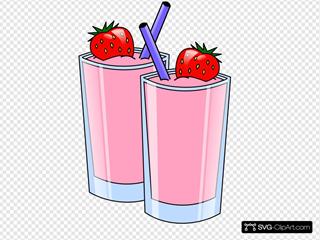Strawberry Smoothie Drink Beverage Cups