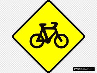 Caution Bike Road Sign Symbol
