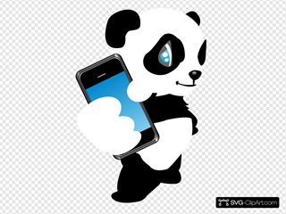 Panda With Mobile Phone SVG Clipart