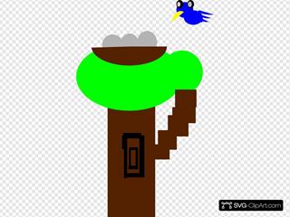 Cartoon Tree Flying Bird
