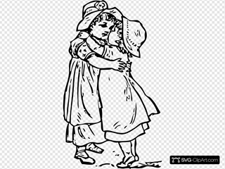 Two Kids Girls Hug