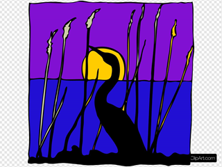 Swan Silhouette In The Moonlight