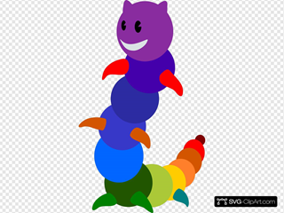 Rainbow Caterpillar Cartoon SVG Clipart