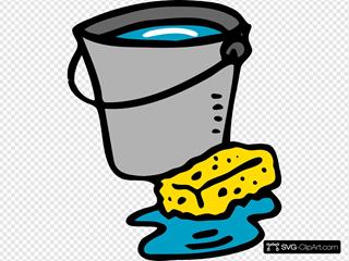 Cleaning Bucket Sponge Water