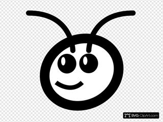 Cute Cartoon Ant Head White