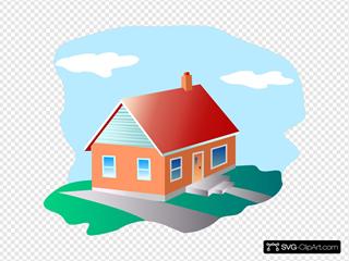 Cartoon House With Blue Sky
