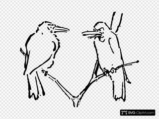 Birds Talking Tree Branch
